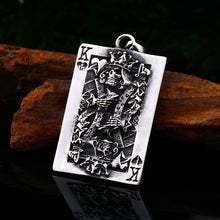 316L Stainless Steel Poker King Skull Pendant Necklace
