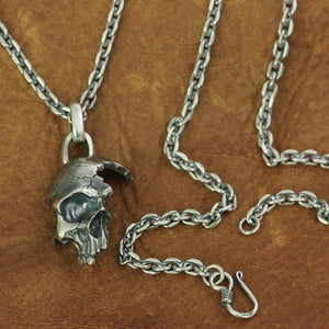 925 Sterling Silver Damaged Half Face Skull Biker Pendant