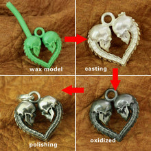 Handmade 925 Silver Couple Love Heart Necklace Pendant