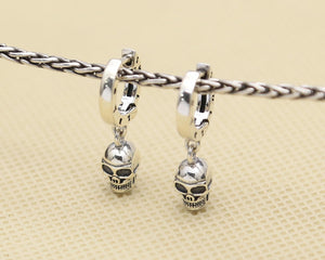 Unisex Punk 925 Sterling Silver Skull Earrings