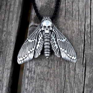 Dead Head Skull Moth Necklace with rope