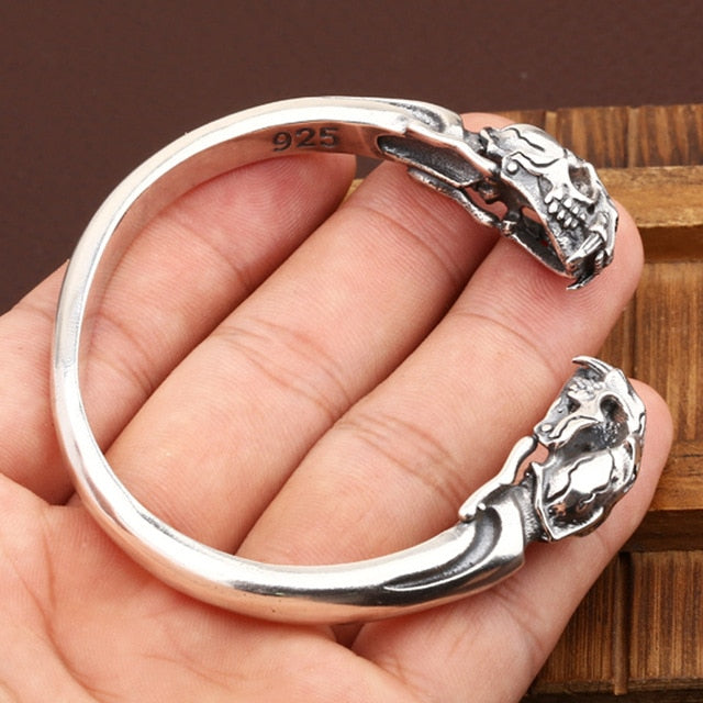 925 Sterling Silver Tiger Skull Bangle