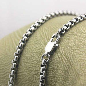 Stainless Steel Chain Men Biker Box Necklace