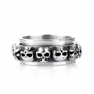 Titanium Steel Evil Faces Skull Ring
