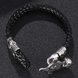 Cross and Skull Black Double Braided Leather Bracelet