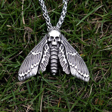 Dead Head Skull Moth Necklace with wheat chain