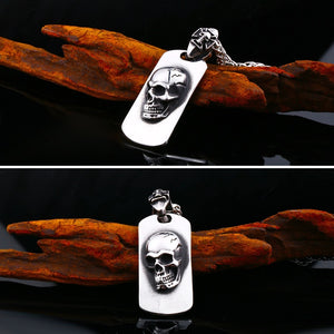 316L Stainless Steel Skull Dog Tag