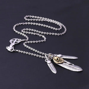 Real 925 Sterling Silver Feather Skull Pendant Chain Necklace