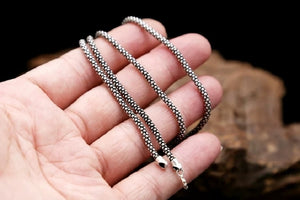 Real Silver 3mm Corn Chain Necklace