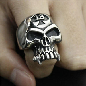 Stainless Steel Lucky 13 Biker Skull Ring