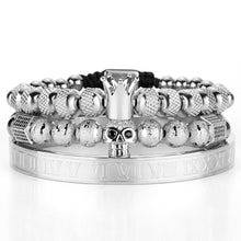 Silver Charm Crown Skull Bracelet Set