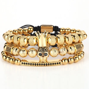 Gold Charm Crown Skull Bracelet Set