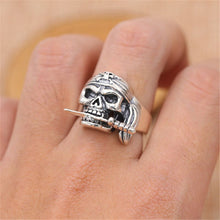 Resizable 925 Sterling Silver Vintage Pirate Skull RIng