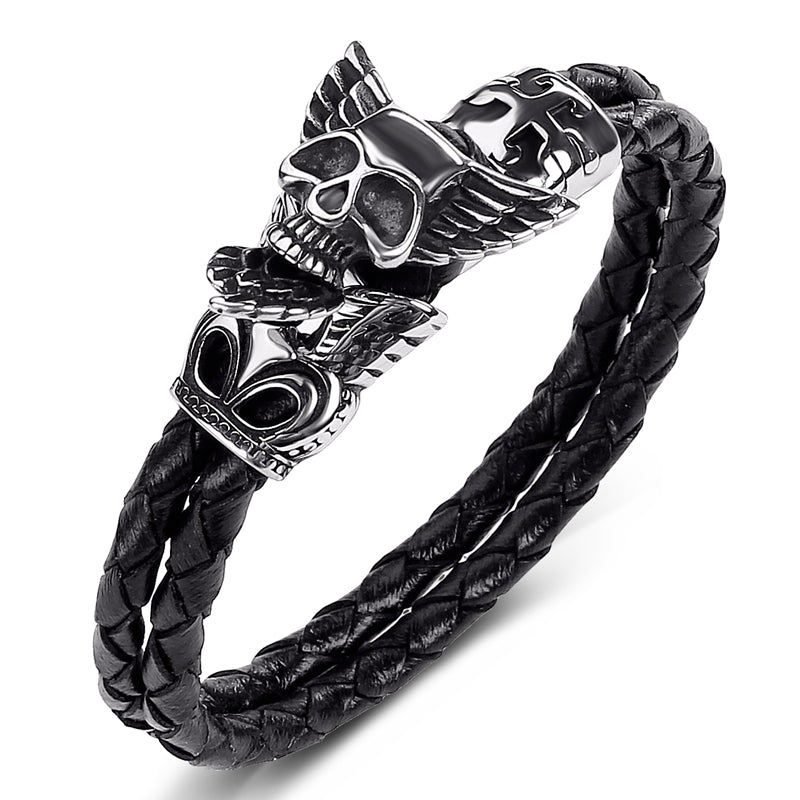 Braided Leather Punk Feather Wings Skull Bracelet