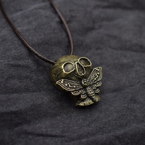 Dead Moth Skull Pendant Necklace