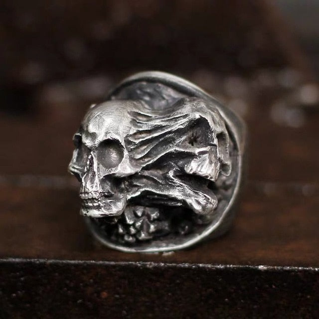 Vintage Stainless Steel Transforming Skull Ring