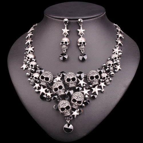 Vintage Crystal Skull Jewelry Sets