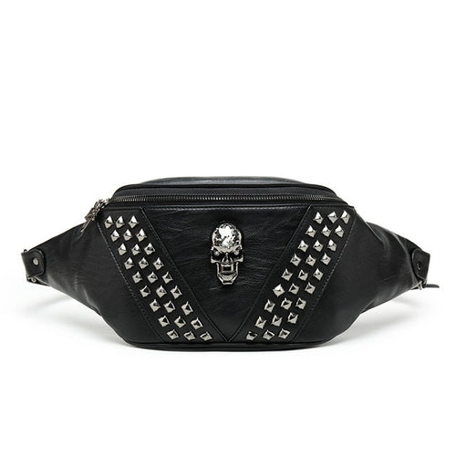 Punk Rivet Skull Waist Bag