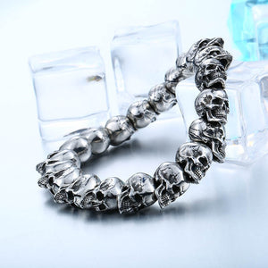 Iron and Steel Warrior Biker Skull Bracelet