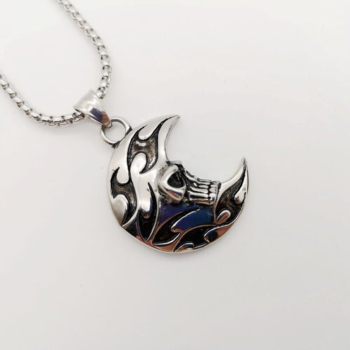 316L Stainless Steel Moon Fire Skull Pendant Necklace