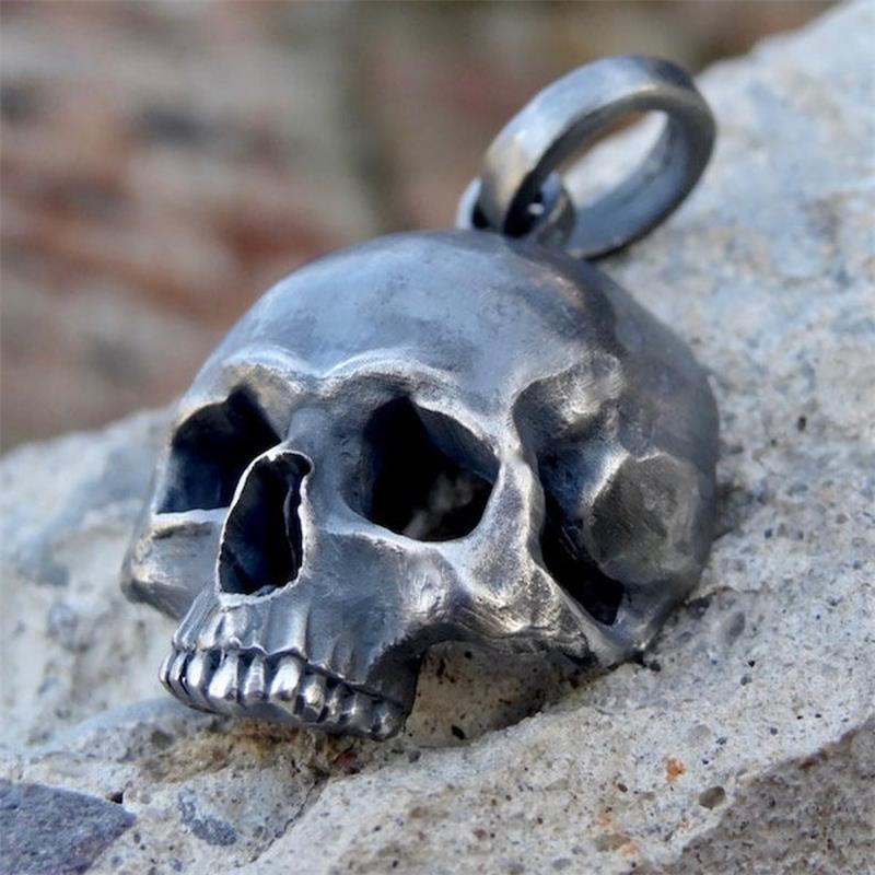 Unique 316L Stainless SteelBlack Skull Pendant Necklace