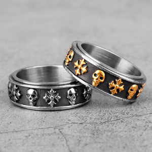 Cross Skull Retro Rotatable Men Rings