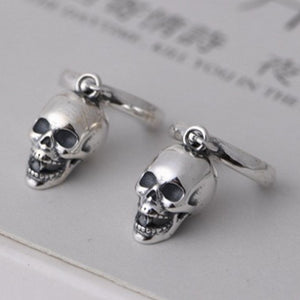 925 Pure Silver Evil Laughing Skull Earrings