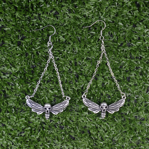 Death Head Skull Moth Butterfly Dangle Earrings