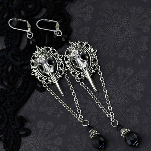 Gothic Raven Bird Skull Earrings