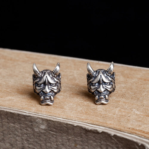 925 Sterling Silver Punk Devil Skull Stub Earrings