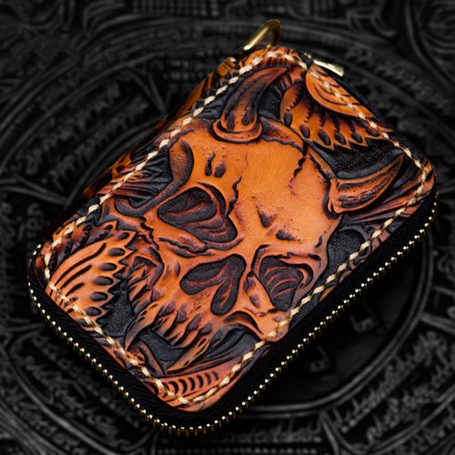 Mini Leather Short Zipper Skull Wallet