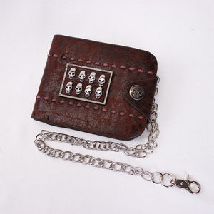Vintage Biker Leather Skull Wallet with Chain
