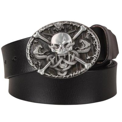Cool Genuine Leather Skull Snake Metal Belt