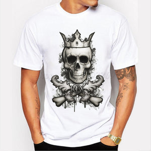 Black and White Vintage King Skull Printed T-shirt