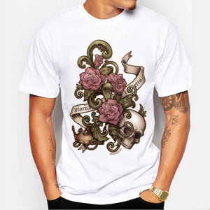 Vintage Skull and Roses Printed T-Shirt
