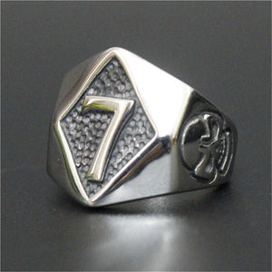 Stainless Steel Punk Rock Number 7 Skull Men Ring