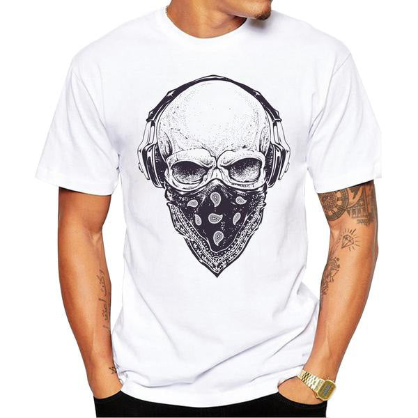 Skull with Headphones Printed T-Shirt