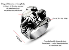 Stainless Steel Black Silver Skull Head Ring