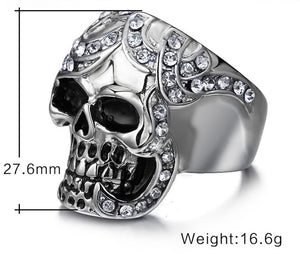 Stainless Steel Crystal Skull Ring