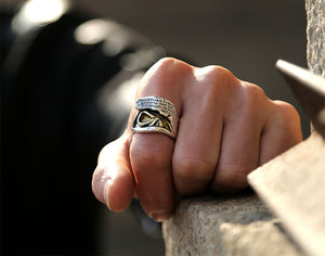 925 Sterling Silver Signet Golden Skull Ring