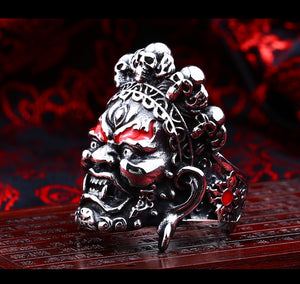 Buddha God of Wealth Adjustable Skull Ring