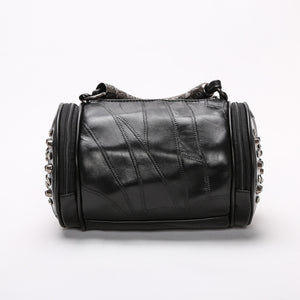 Women Black Rock Rivets Punk Leather Tassel Bags