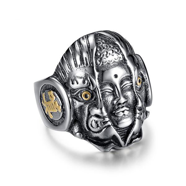 Stainless Steel Punk Style Thailand Buddha Evil Skull Ring
