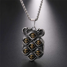 Stainless Steel Cool Punk Seven Skulls Two-color Tag Pendant Necklace