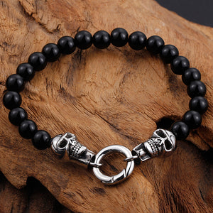 Stainless Steel Black Beads Double Skull Bracelet & Necklace Set For Men
