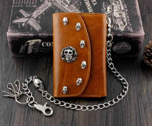 Skull Punk Biker Leather Chain Wallet Coins Purse