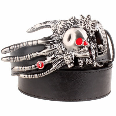 Red Eyes Skull Hand Buckle Leather Belts