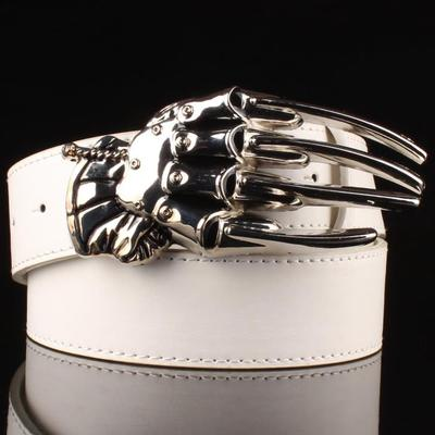 Silver Skull Hand Buckle Leather Belts