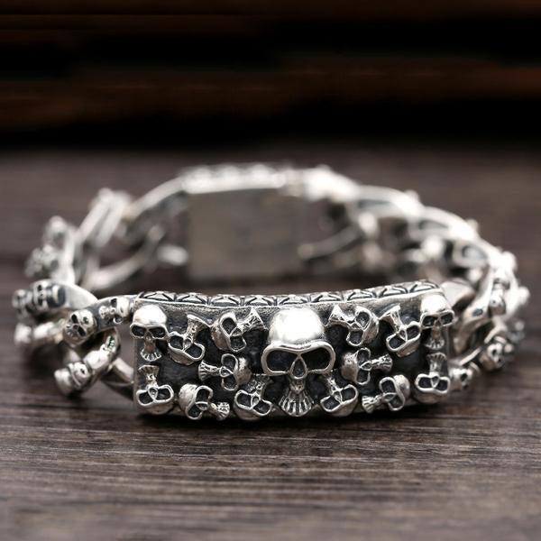 Handcrafted 925 Sterling Silver 20mm Wide Skull Bangle Bracelet