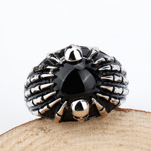 925 Sterling Silver Skull Ring with Black Semi-precious Stone